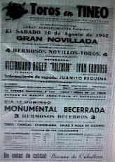 CARTEL TOROS TINEO ASTURIAS 1952