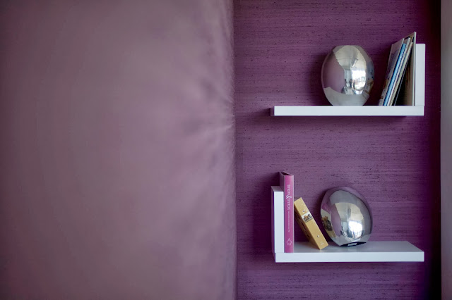 Fabric walling - Purple silk on the wall