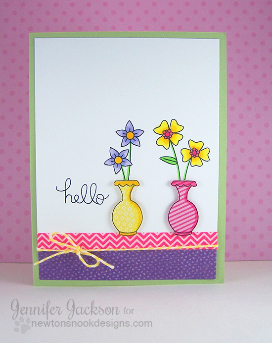 Flower Vase Card for Inky Paws Challenge #9 | Newton's Nook Designs