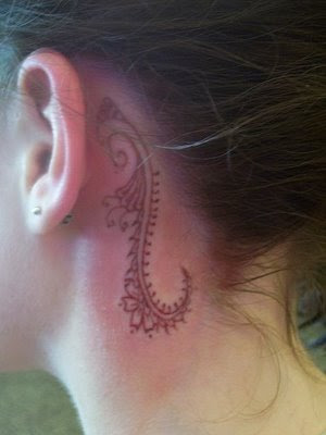 ear tattoos will have more exposure to sunlight, you may want to cover your design with sun block lotion to prevent the symbol from changing color or fading. Since behind the ear tattoo is highly visible when you want to show it, you should find a design which impress you or has significance to you. For women who are on top of the latest fashion and tattoo trend, you can consider dying your hair, getting your nose pierced and having your behind ear inked.