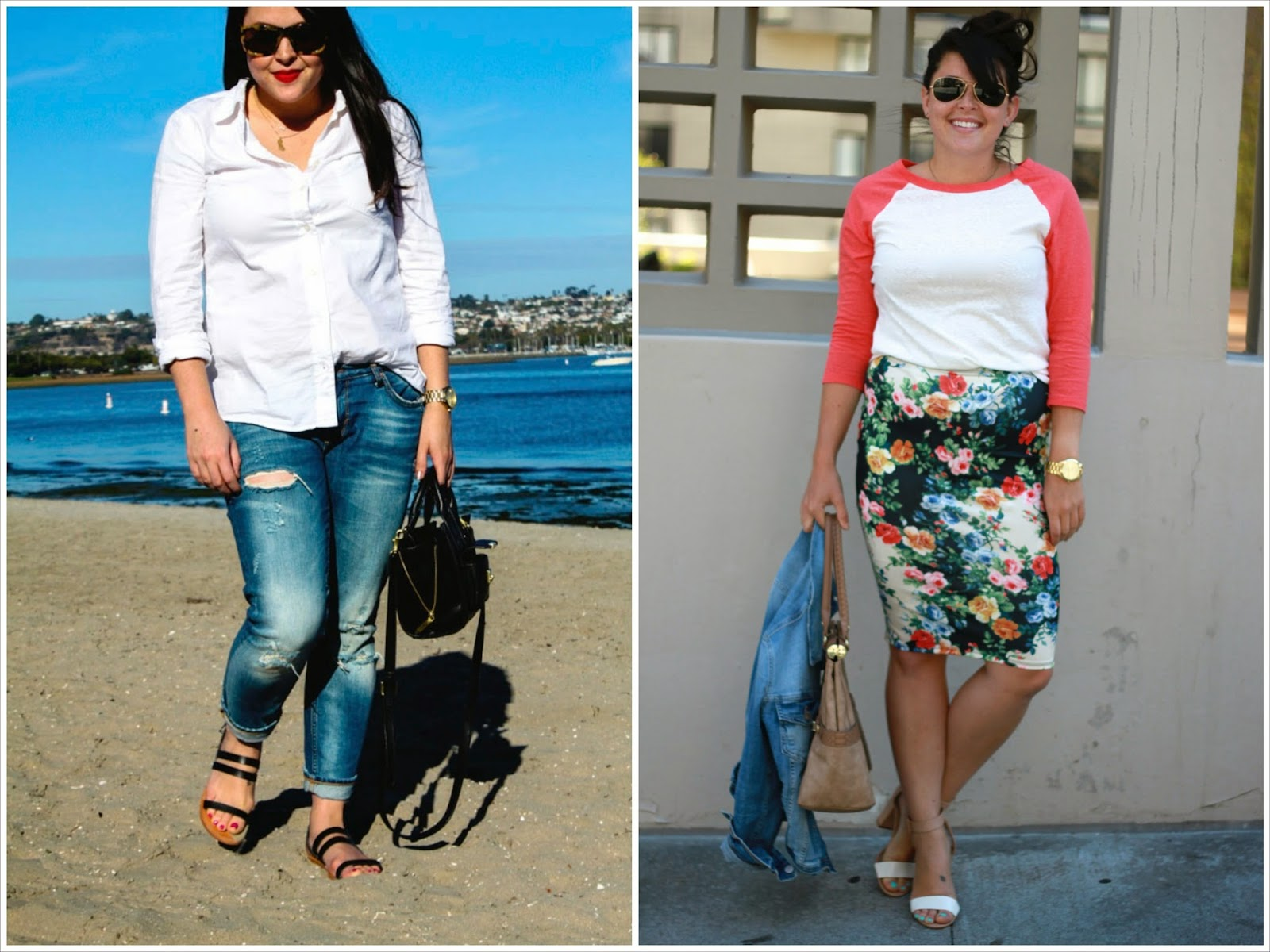 boyfriend jeans, floral pencil skirt, baseball tee