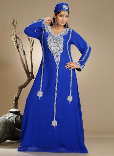 Blue Long Kaftan with Silver Embroidery