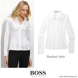 Queen Letizia Style HUGO BOSS Bashina Shirt and HUGO BOSS Marela Skirt