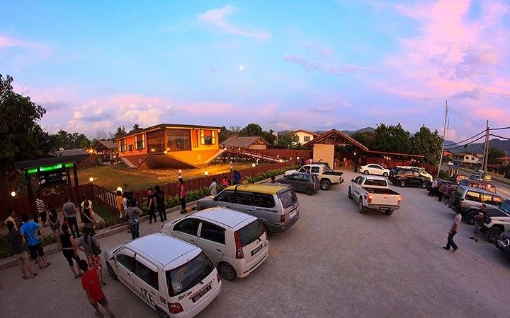 Rumah Terbalik - Tamparuli - Sabah - during sunset with mount