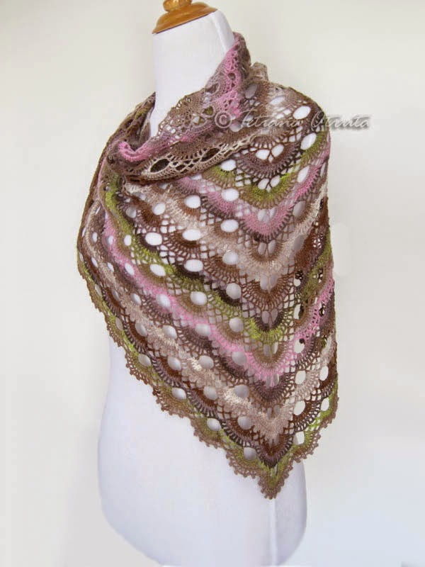 Rainbow Knitting Scalloped Triangle Shawl