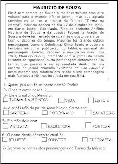 Atividade Biografia Mauricio de Souza
