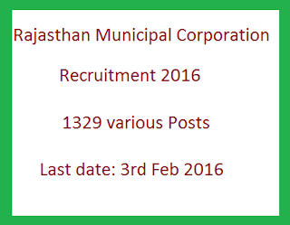 Rajasthan Municipal Corporation Recruitment 2016