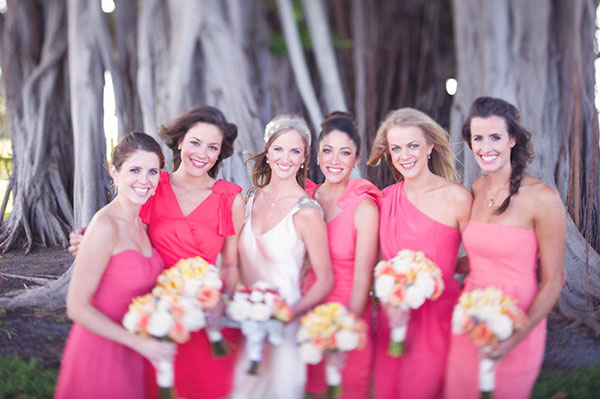 HOT PINK bridesmaids dresses