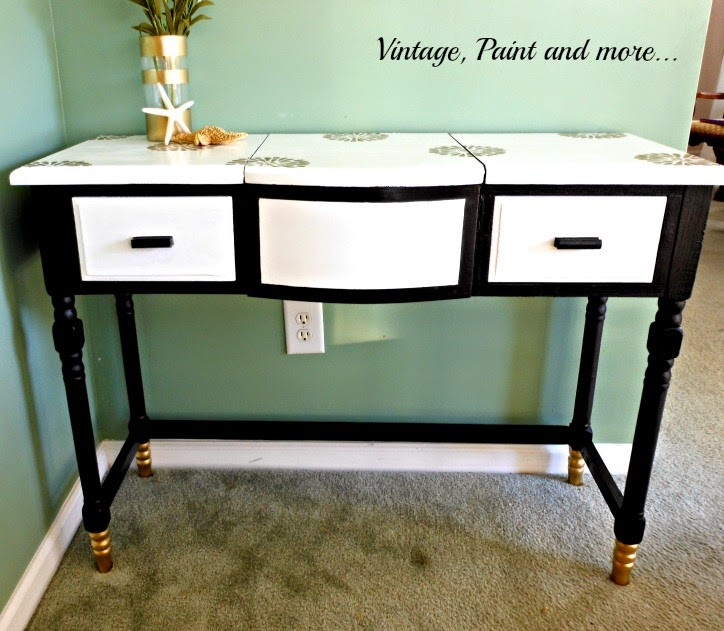 Vintage, Paint and more... retro vanity glamorized with dipped gold feet and stencils