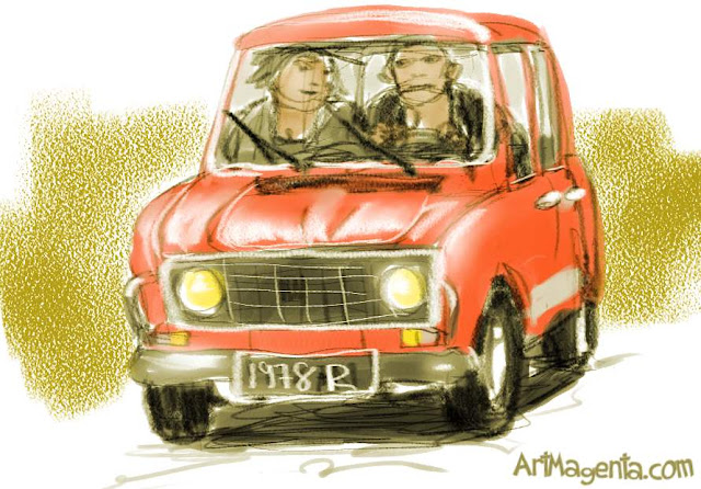 Renault 4L is a car sketch by artist and illustrator Artmagenta