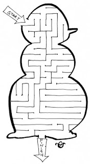 snow man maze, activities for children