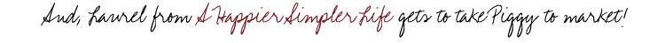 Giveaway winner - A Happier Simpler Life