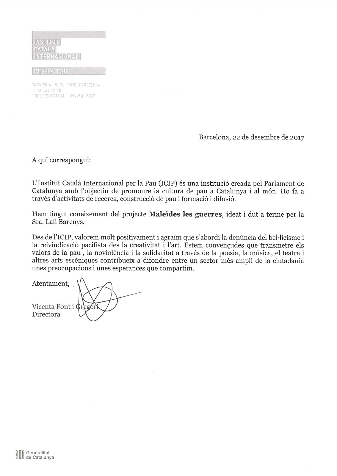 L'INSTITUT DE LA PAU RECOMANA...