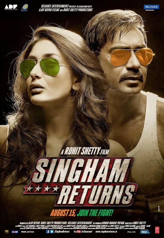 Kareena Kapoor and Ajay Devgan's Singham Returns (2014) First Look Poster