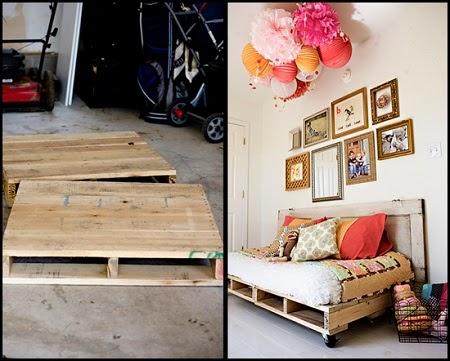 Sofa Cama con Palets y Puerta Reciclados