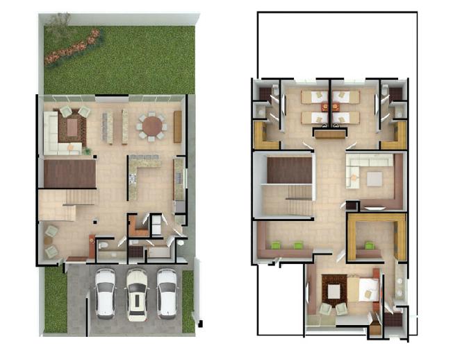 Planos de casas y plantas arquitect nicas de casas y for Modelo de casa con 2 dormitorios