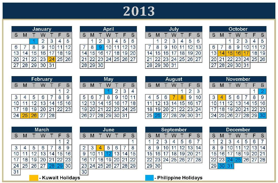 ... (orange) and Philippines (blue) 2013 calendar for public holidays
