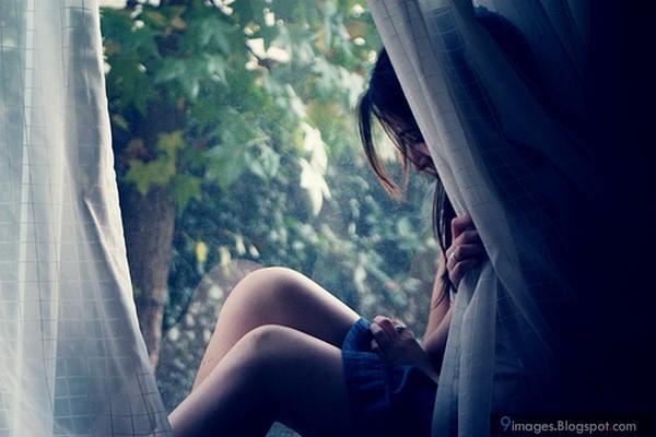 Sad, alone, cute, girl, waiting, someone, window