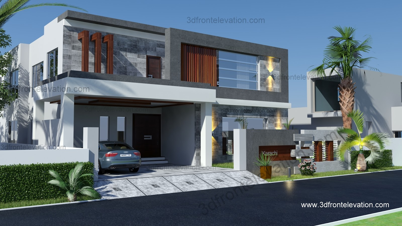 Front Elevation Of 240 Yards House : D front elevation yard squair meter