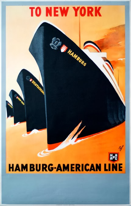 classic posters, free download, free printable, graphic design, printables, retro prints, travel, travel posters, vintage, vintage posters, vintage printables,To New York, Hamburg-American Line - Vintage Travel Poster