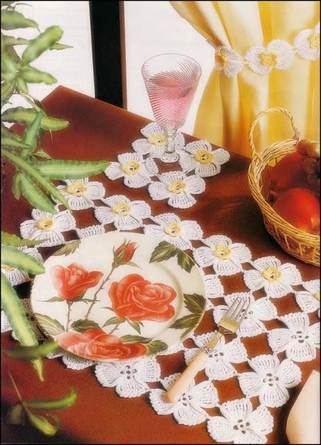 trilhos de mesa em croche com receita e graficos