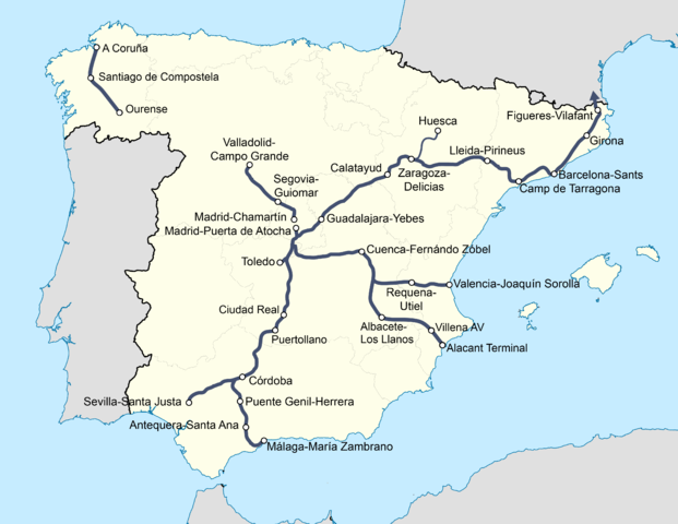 Riding trains in Spain