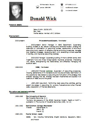 Example Of Cv Resume  Resume Examples And Free Resume Builder