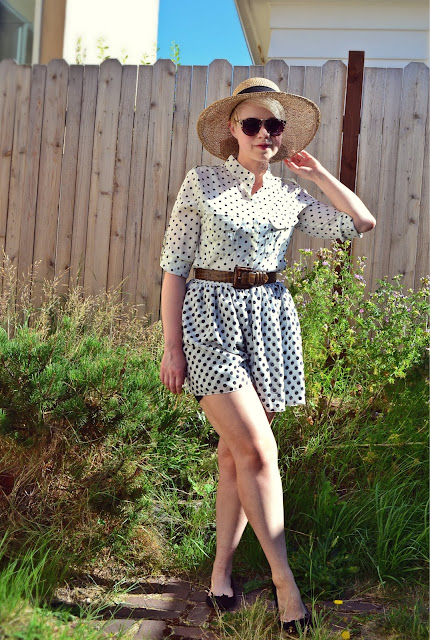american apparel, oasap, vintage, polka dots, sun hat, sunglasses, skirt, street style, summer fashion, seattle, fleur d'elise