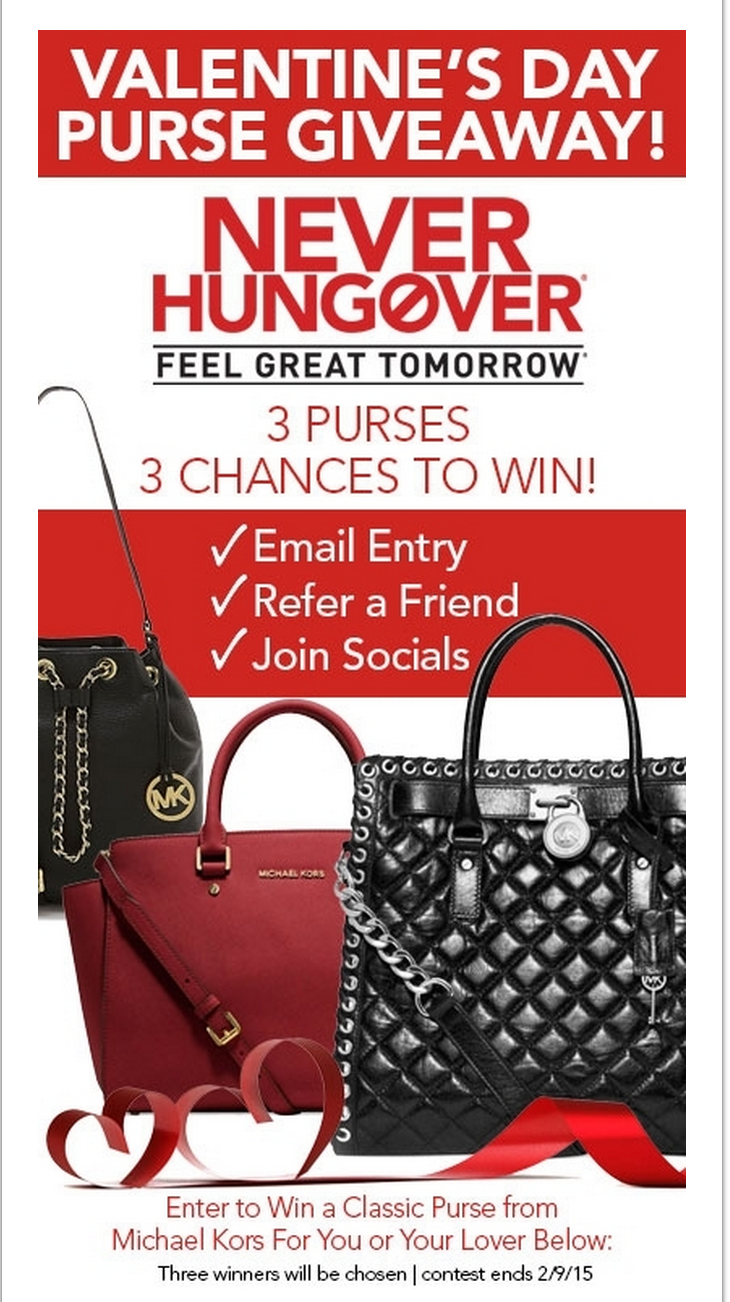 image Never Hungover Valentines Purse Giveaway 3 Prives # Ways to win email entry Refer a friend, Join Socials