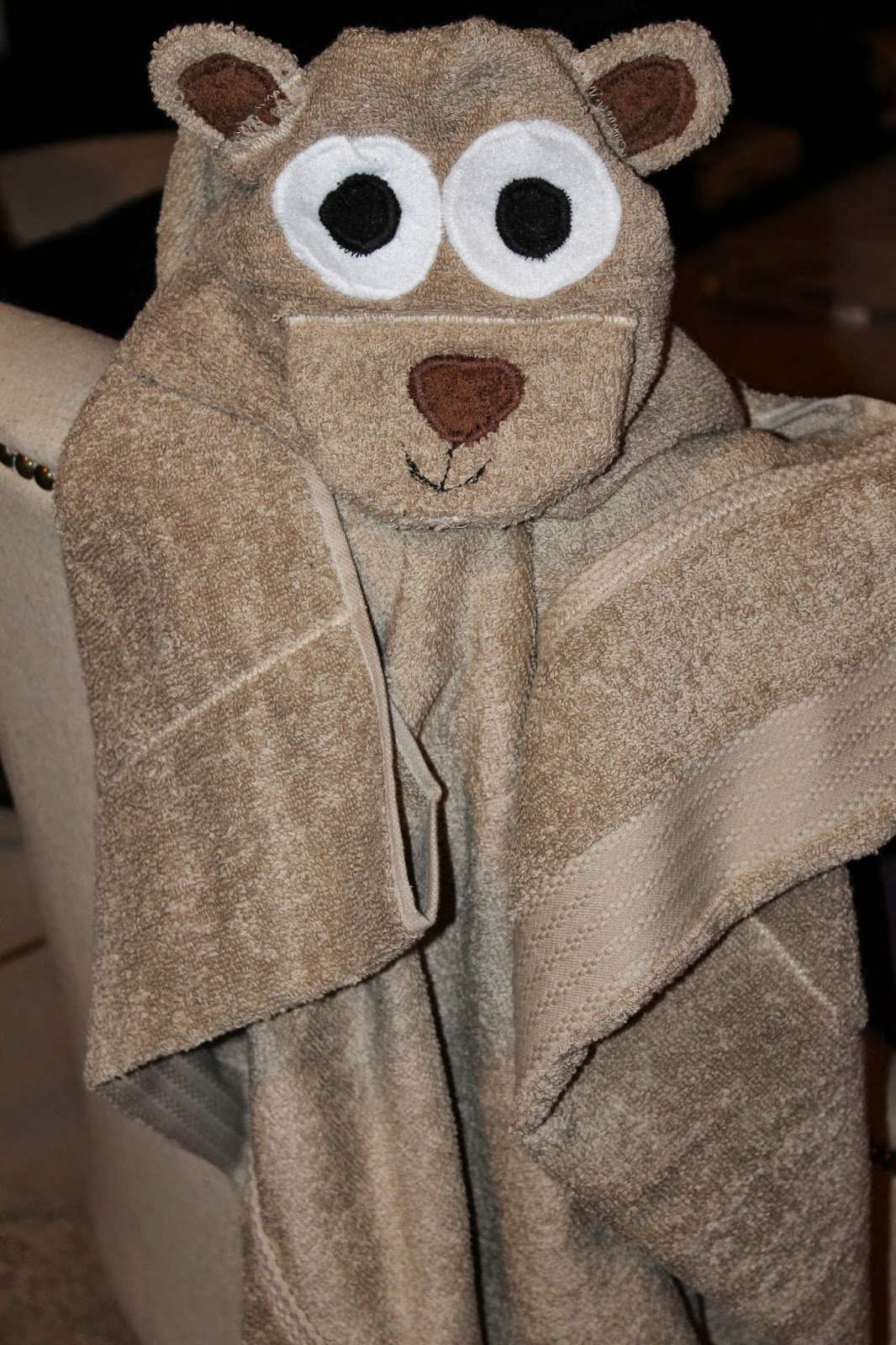 DIY hooded teddy bear towel, hooded bath towel