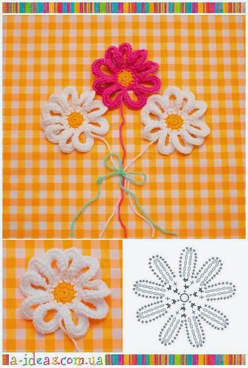 2 hermosas flores tejidas al crochet... y super fáciles! | Crochet y ...