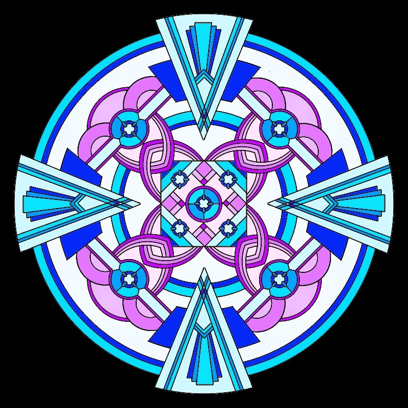 Art deco inspired mandala in blues and purples