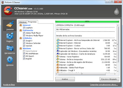 Ccleaner para limpiar tu windows