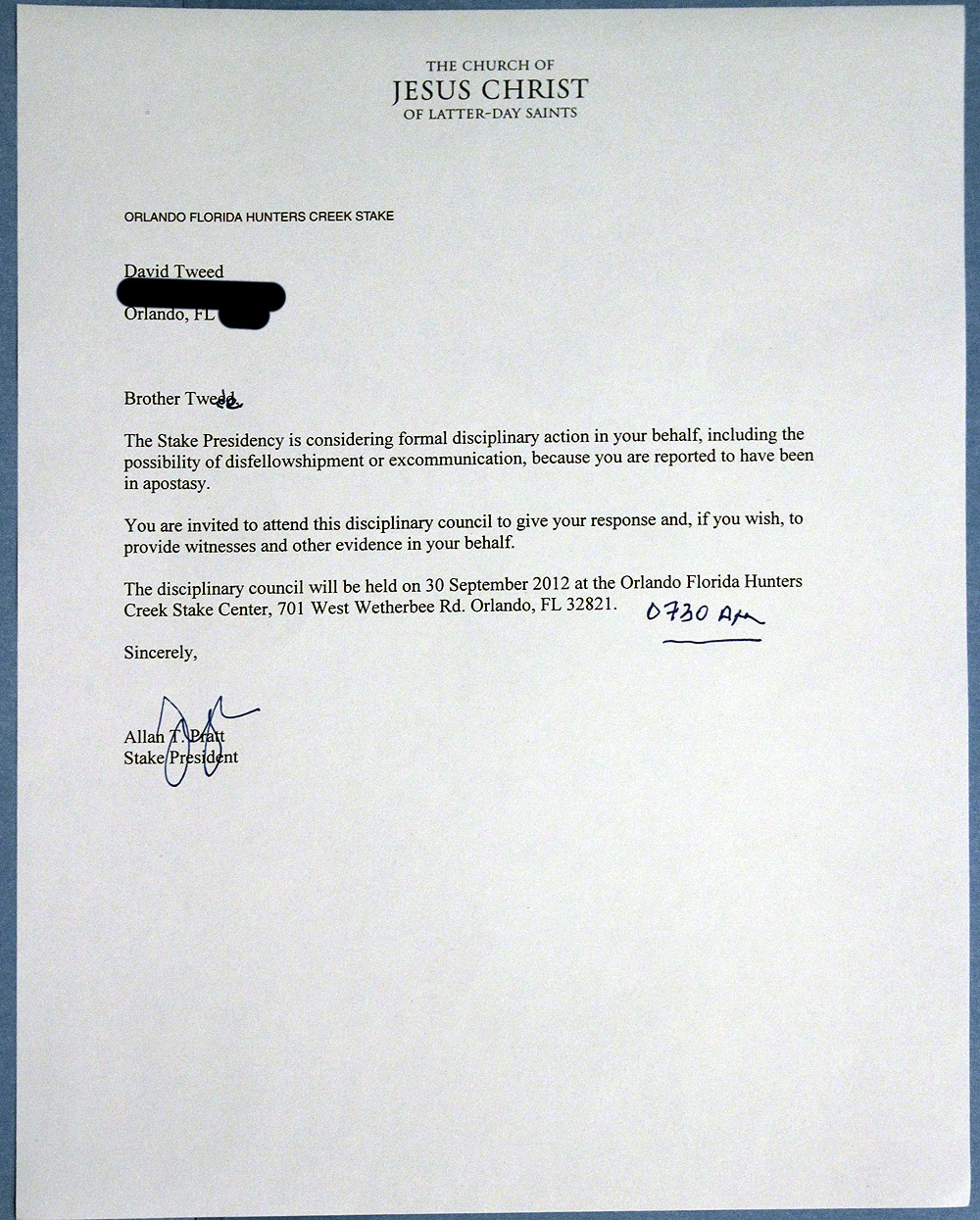 Mormon Disclosures The Letter