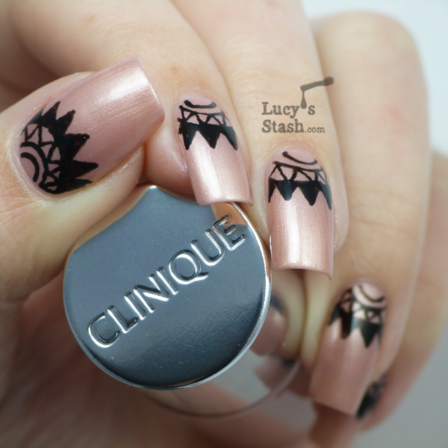 Lucy's Stash - Nail art half moons with Barry M Nail Art Pen Black and Clinique Fizzy