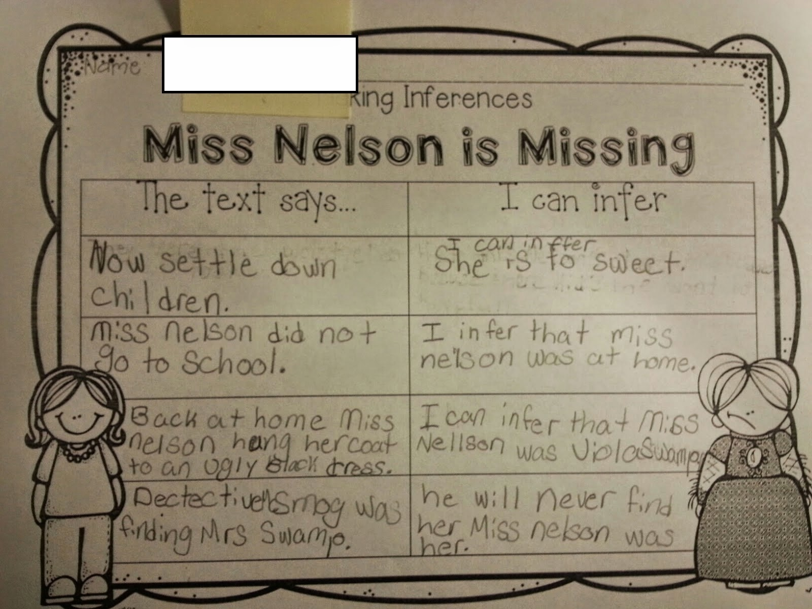 Teaching with Blonde Ambition Making Inferences Using Mentor Texts – Miss Nelson is Missing Worksheets
