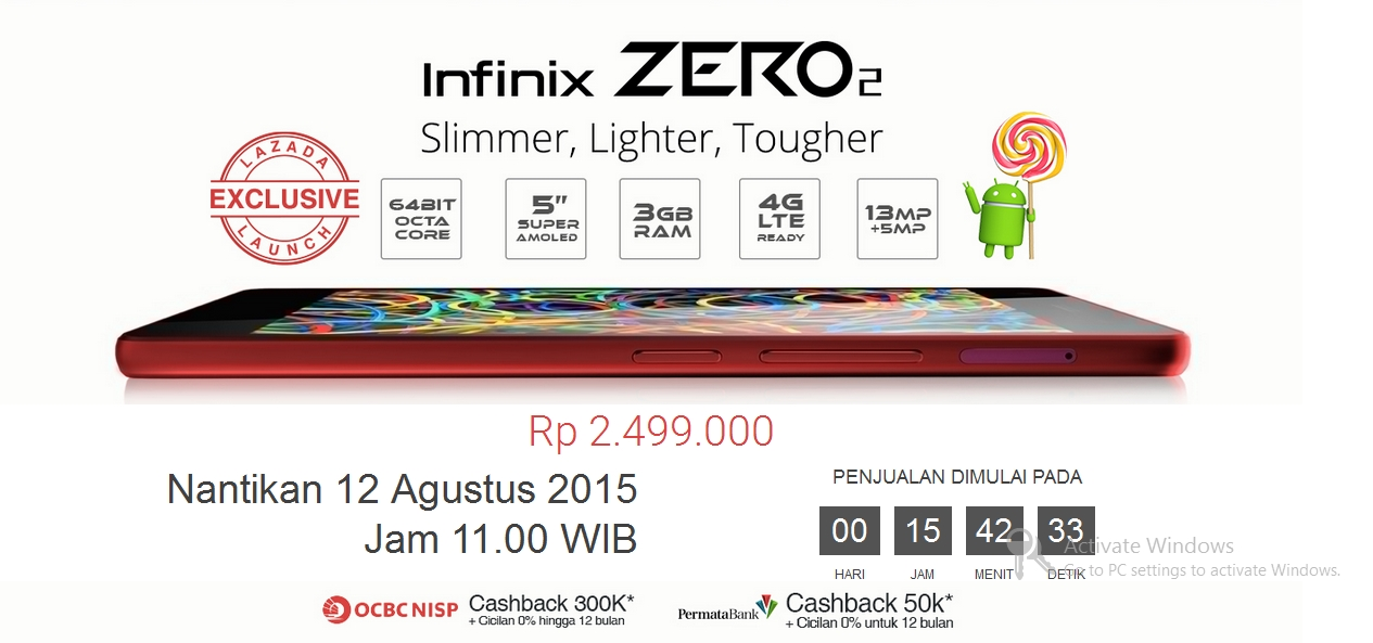 Infinix Zero 2 Flash Sale Lazada Digelar Besok, Tanpa Registrasi & Batasan Waktu Siapa Cepat Dia Dapat