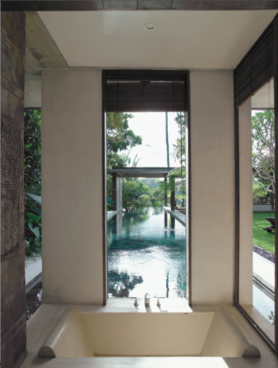 View of the pool outside the bath.
