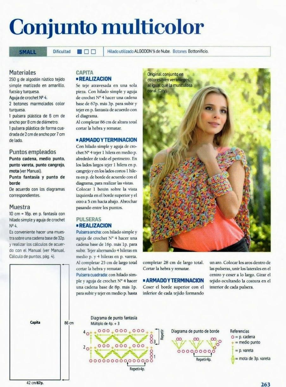 Patrones de capita y pulseras tejidas al crochet con explicación en español