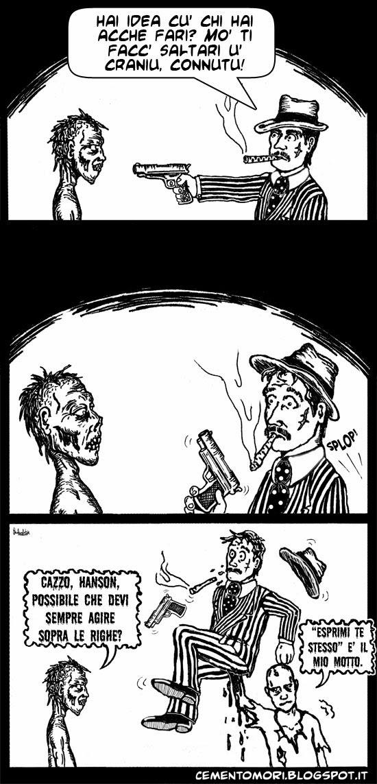 Uno zombie sistema un mafioso.