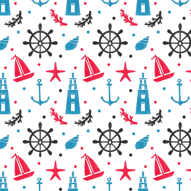 Sea Nautical Pattern Watercolor Illustration by Haidi Shabrina