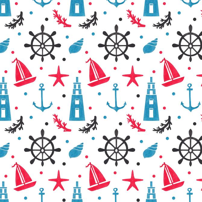 Sea Nautical Pattern Watercolor Illustration by Haidi Shabrina