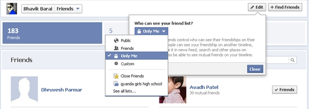 to see your Facebook friends list only Mutual friends are visible