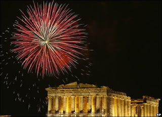 Greece New Year 2012 Eve Celebrations, Athens, Fireworks around Acropolis -Travel Europe Guide