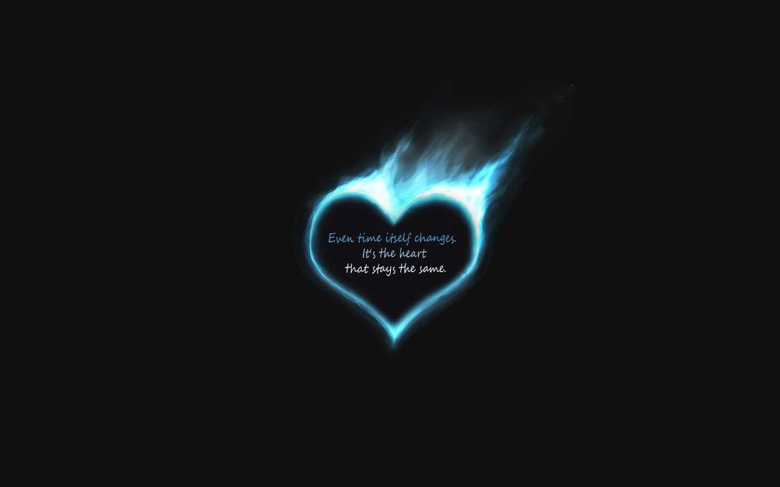 Quote in a heart on a black background