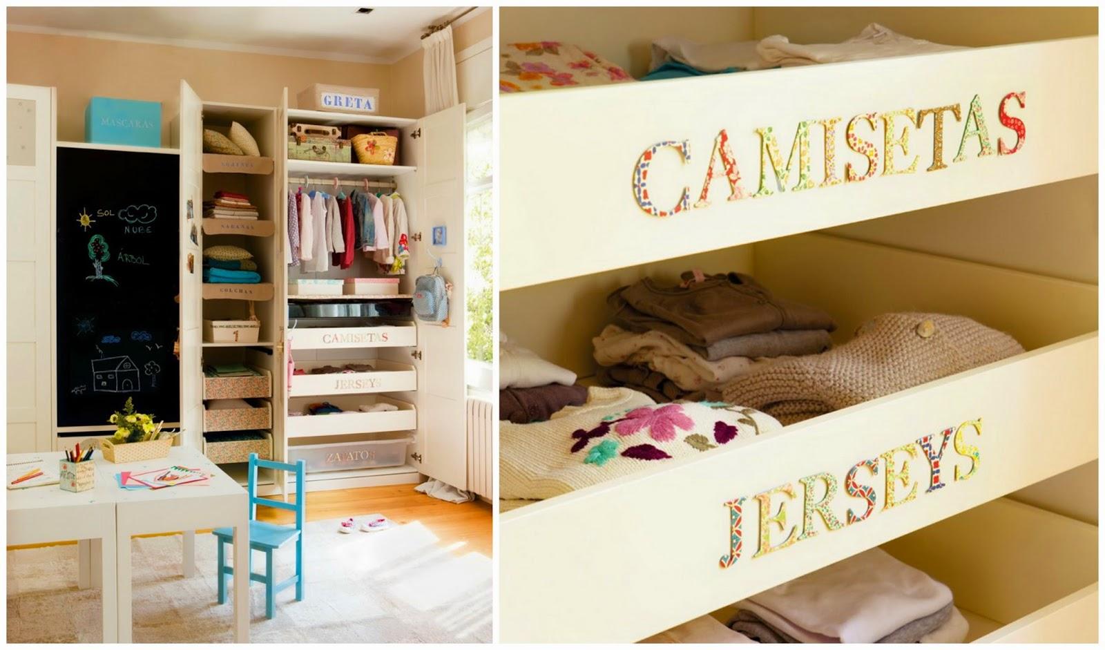 Cajones con etiqueta - orden armario niños