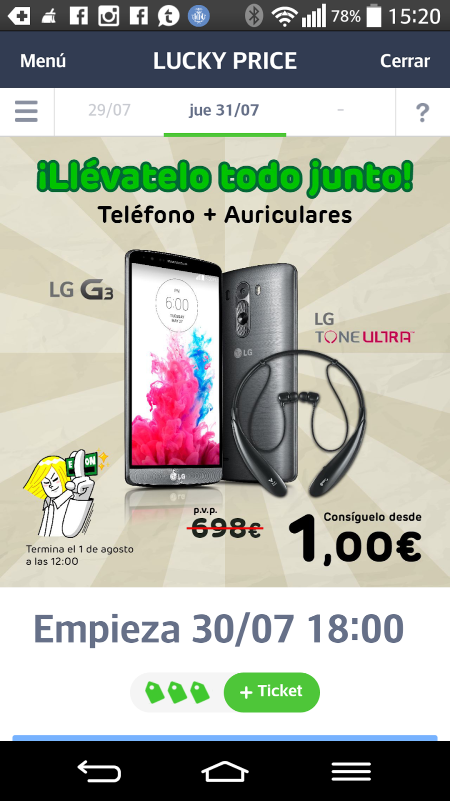 Gracias a Line podemos participar en una Subasta Inversa para conseguir un LG G3.