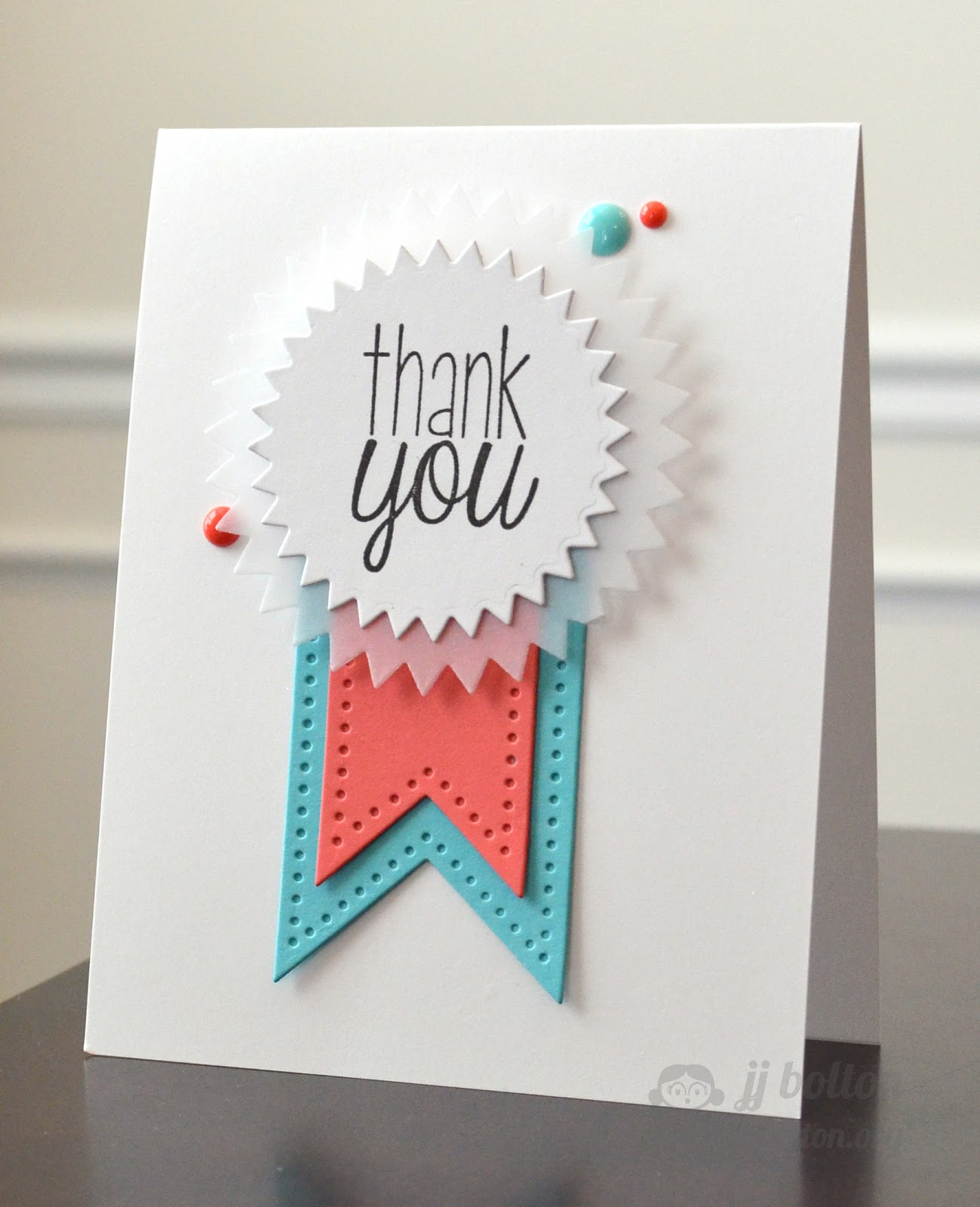 jj bolton  handmade cards   thank you ribbon with avery elle