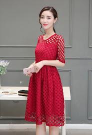 Three-Color Half Sleeve Big Circular Hollow Flare Past Knee Length Dress