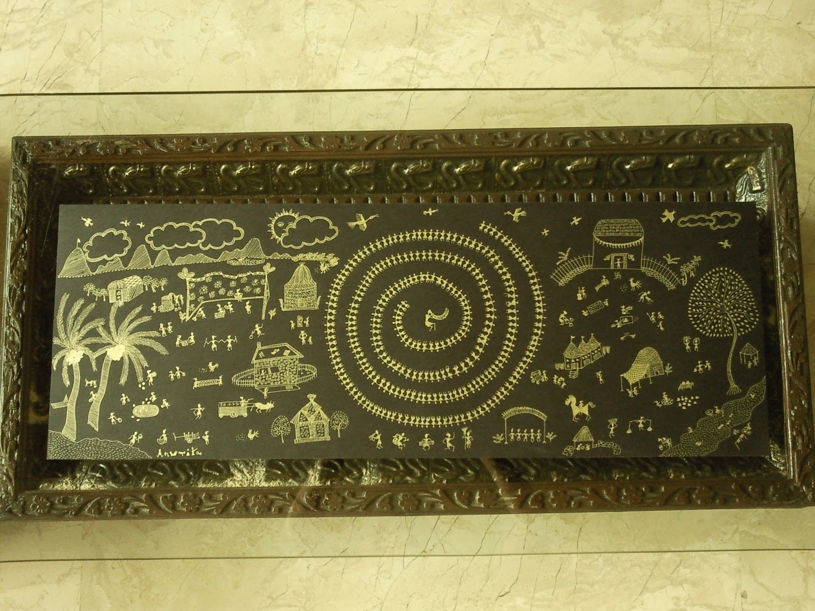 Warli painting in Gold
